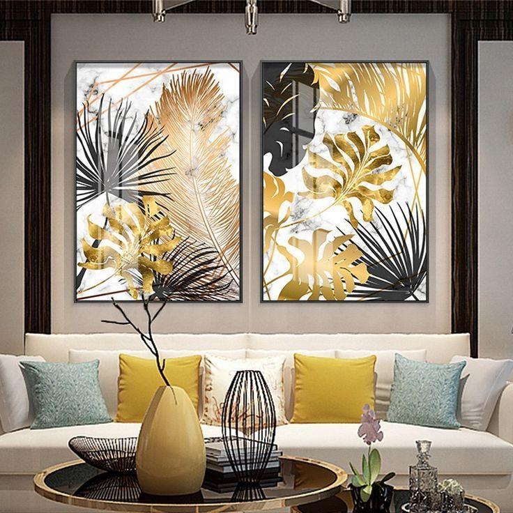 elegant nordic golden leaf canvas print poster wall art decor wohnzimmer dekoration ideen moderne innenarchitektur zimmer dekor kunst bilder neue pinakothek der