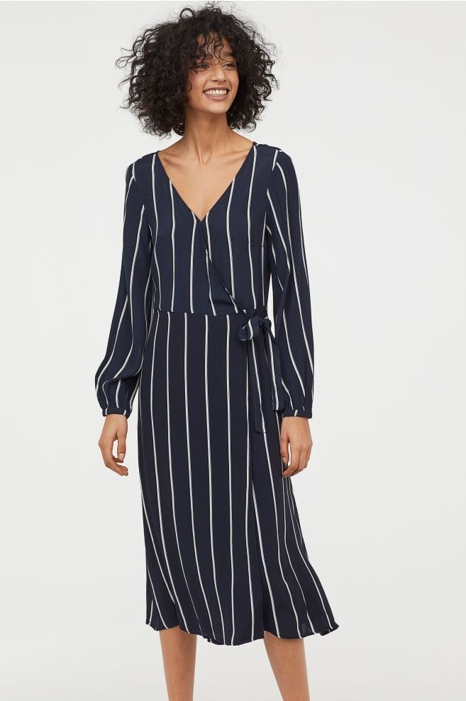 268cdee4a32ef Patterned wrap dress - Dark blue/White striped - Ladies | H&M GB 1
