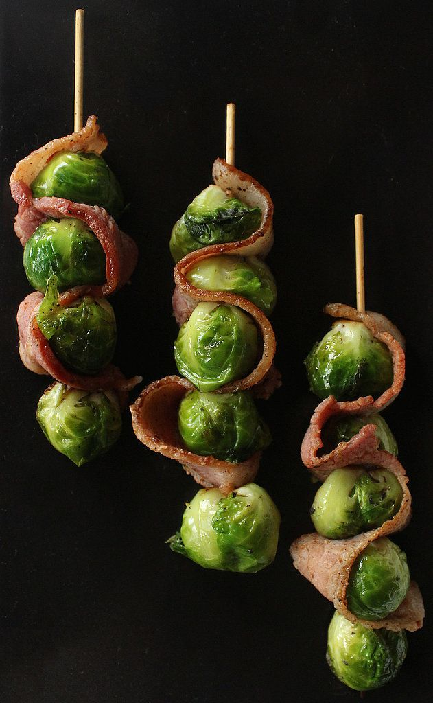 18 Paleo Snacks Even a Caveman Would Love - bacon brussel sprout skewers