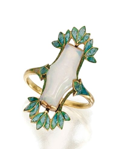 GOLD, OPAL AND ENAMEL RING, GEORGES FOUQUET, CIRCA 1900-1910  Set in the center with a fancy-shaped opal, within a frame of foliate design applied with bluish-green enamel, size 7, signed G. Fouquet, numbered 9730, maker's marks, French assay mark.