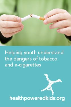 "In honor of Lung Cancer Awareness month (November), now is a good time to use our ""Tobacco and e-cigarettes"" lesson to help youth gain an understanding of the harmful effects of tobacco on the body, recognize some of the poisonous chemicals found in cigarettes, and analyze advertisements for cigarettes, e-cigarettes and smokeless tobacco.  http://www.healthpoweredkids.org/lessons/tobacco-and-e-cigarettes/"