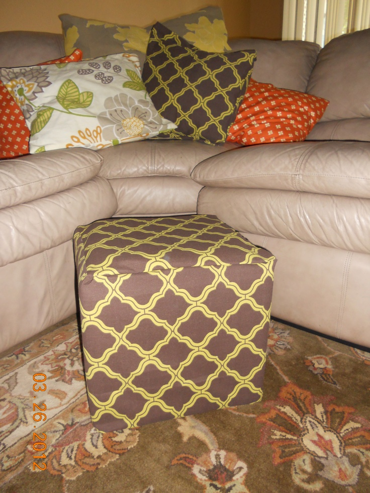 Home made slip covers Sew easy! If you can sew a line you can do this just recovered and old foot stool and all the mix matched pillows from the sofa! Looks so much better and now I can change and wash them easy!