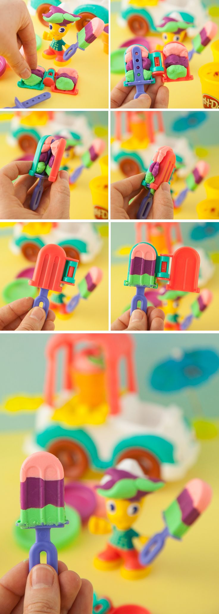 Your kids can press their own pretend colorful ice pops with this super fun Play-Doh Town Ice Cream Truck playset!