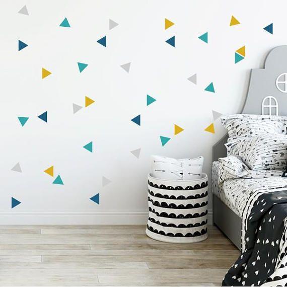 Nordic Triangle Combination Mustard Baby Wall Sticker Quarto