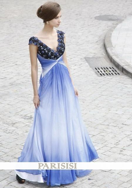 Aline Chiffon-Kleid mit V-Ausschnitt Perlen Spitze