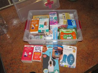 Baby First Aid Kit! Definitely going to have to make one of these. Would also make a great shower gift.
