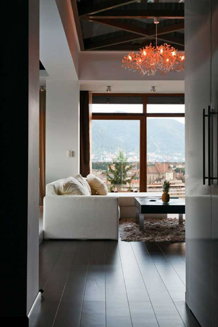 Apartments, Architecture Apartment Interior Design Living Room Transparent Loft Sofa Cushions Fur Rug Coffee Table Chandelier Wooden Floor C...
