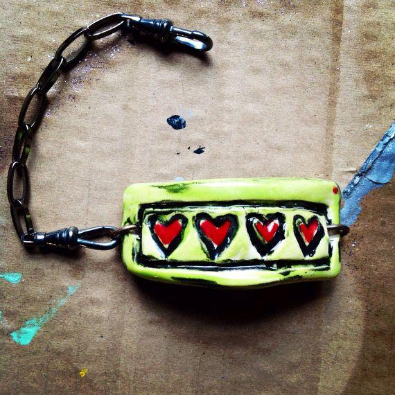 Ceramic clay bracelet on Etsy, $25.00