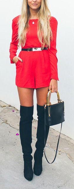 Red romper + black OTK boots.
