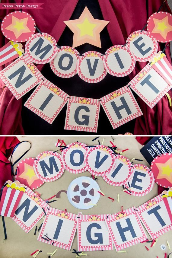 Movie Night Banner Printables Red Movie Night Decorations Bunting Movie Reel Popcorn Box Birthday Party Marquee Instant Download Movie Themed Party Diy Movie Night Movie Night Decorations