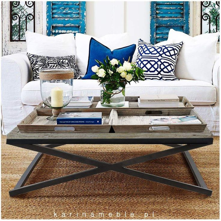 """Meble industrialne loftowe - stolik z tacą z litego drewna mango. Stolik """"Tray Table"""" to klasyka połączona z nutrką vintage i loft. Solidna, metalowa podstawa podtrzymuje drewniany blat i trzy piękne tace. Tace stanowią komplet ze stolikim ale w razie potrzeby mogą być używane ososbno. To piękny mebel z duszą i charakterem."""