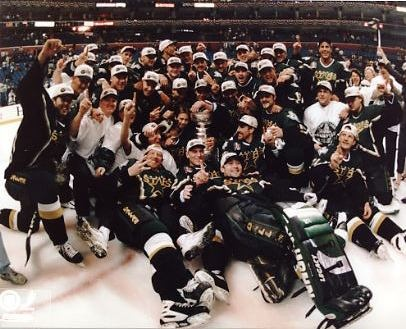 1999 Stanely Cup Champion Dallas Stars. I'm a huge hockey and Dallas Stars fan. I can and will talk about hockey for hours. When (if) the season begins, and if you're ever at a game, there's a decent chance I'll be there too.
