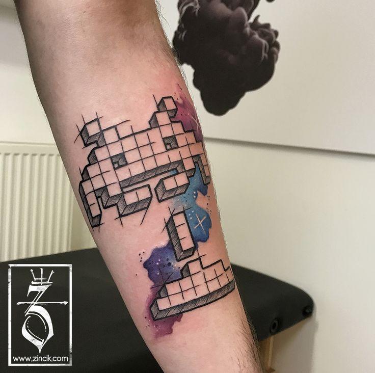 Tattoo Zincik - Czech Tattoo Artist, Space Invaders game tattoo design, Tetování na předloktí Brno / Praha