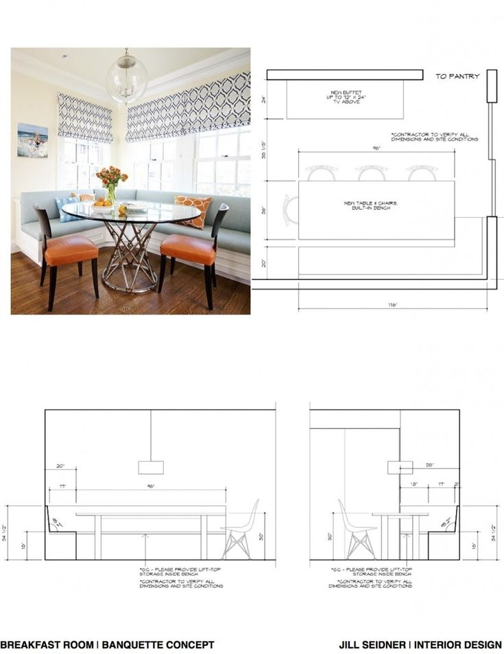Breakfast nook sketch with dimensions.