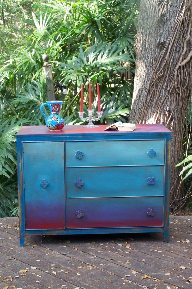 SALE Aurora Borealis Dresser SALE by junkdrawerdivas on Etsy. sooo pretty.