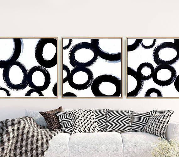 Triptych, Abstract Art, Set of 3 Prints, Black And White Art, Minimalist Art Print, Giclee Print, Home Decor, Wall Decor, Wall Art