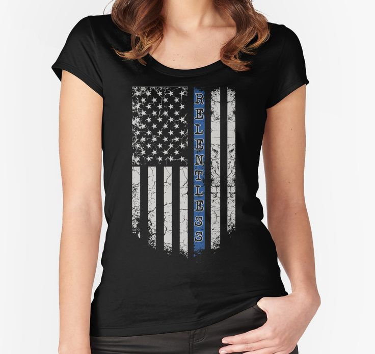 Relentless - American Flag Patriotic Design  Women's Fitted Scoop T-Shirts