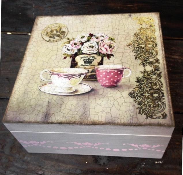 Caixas de chá Decoupage! Trabalhando com a impressão de verniz e de duas etapas craquelure! - Feira Mestres - artesanal, feito à mão