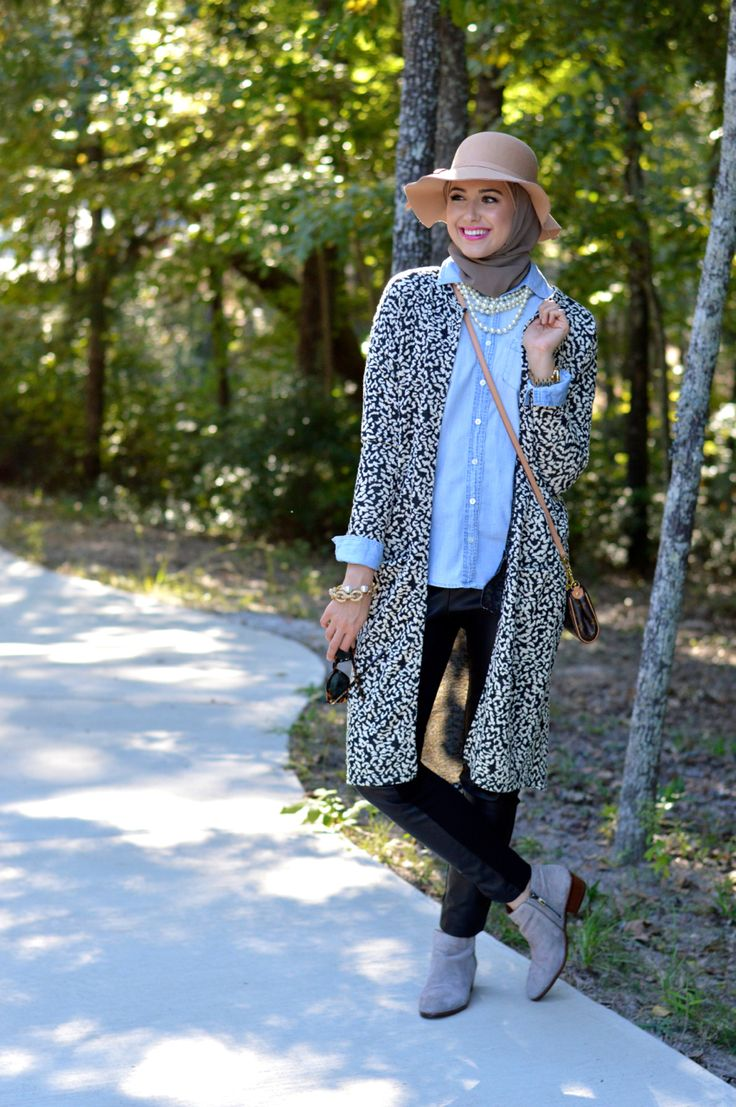 leather pants, denim shirt, cool cardigan...love this combo! #hijabfashion
