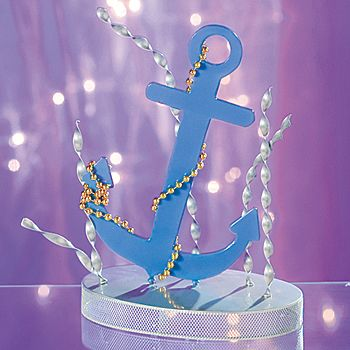 Anchor down your event tables with this Anchor Centerpiece. Each metal Anchor Centerpiece is 8 inches wide x 6 inches deep x 12 inches high and is accented with gold beads.