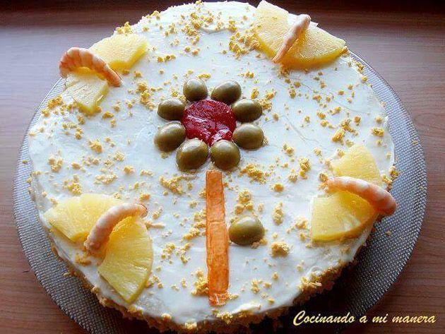 pastel salado de piña y langostinos