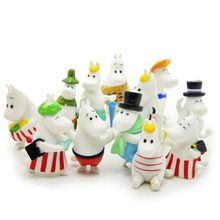 12pcs/lot Moomin Valley Animation Baby Figurines Pet shop Toys Japan Anime Present moomin&Snorkmaiden&Umbrella Mini Table Deco(China (Mainland))