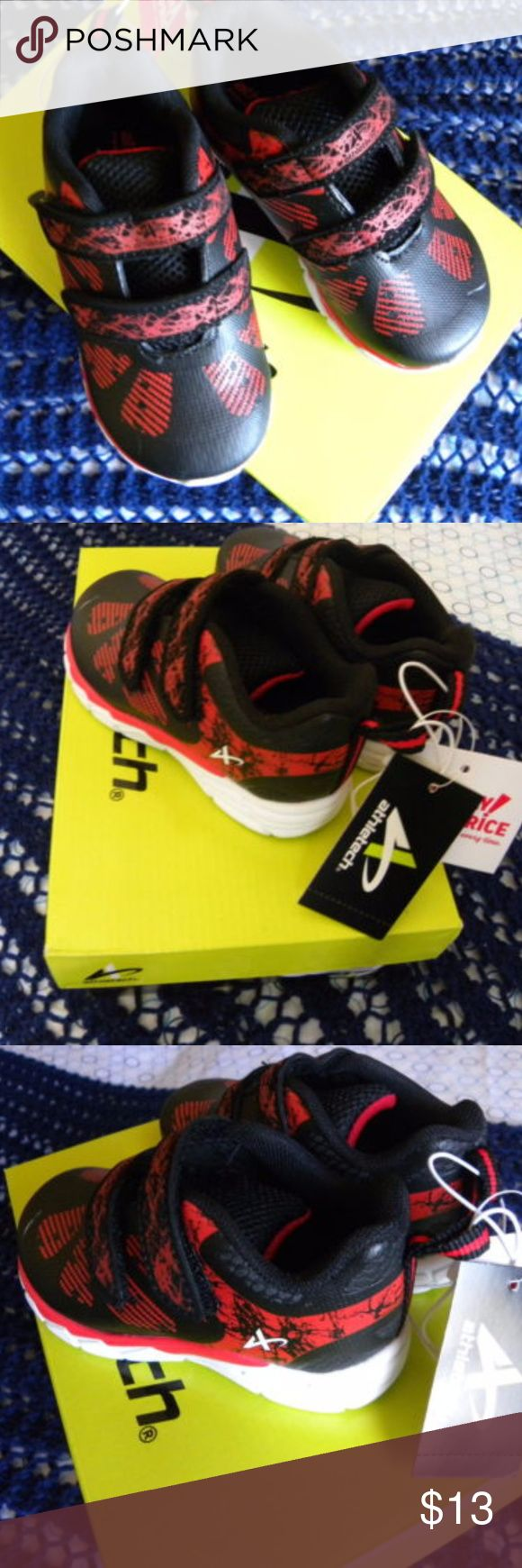 Baby Toddler Shoes Sneakers Size 7 Black&Red Athletech shoes athletic sneakers Kmart - Spider-Man colors  Size 7  Baby Toddler Black & Red  Black and red color, great tennis shoes for a baby boy.    It has tags and box Any comment or doubt please let me know Athletech Shoes Baby & Walker