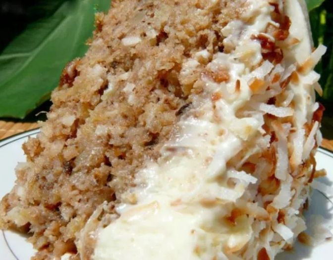 Hawaiian Wedding Cake with Whipped Cream-Cream Cheese Frosting