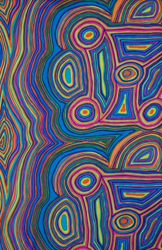 Jimmy Pike, Australian artist: Jila II Lightweight Cotton (multicolour) Photo courtesy Artisan