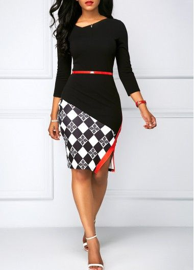 Black Three Quarter Sleeve Side Slit Dress | Rosewe.com - USD $31.29