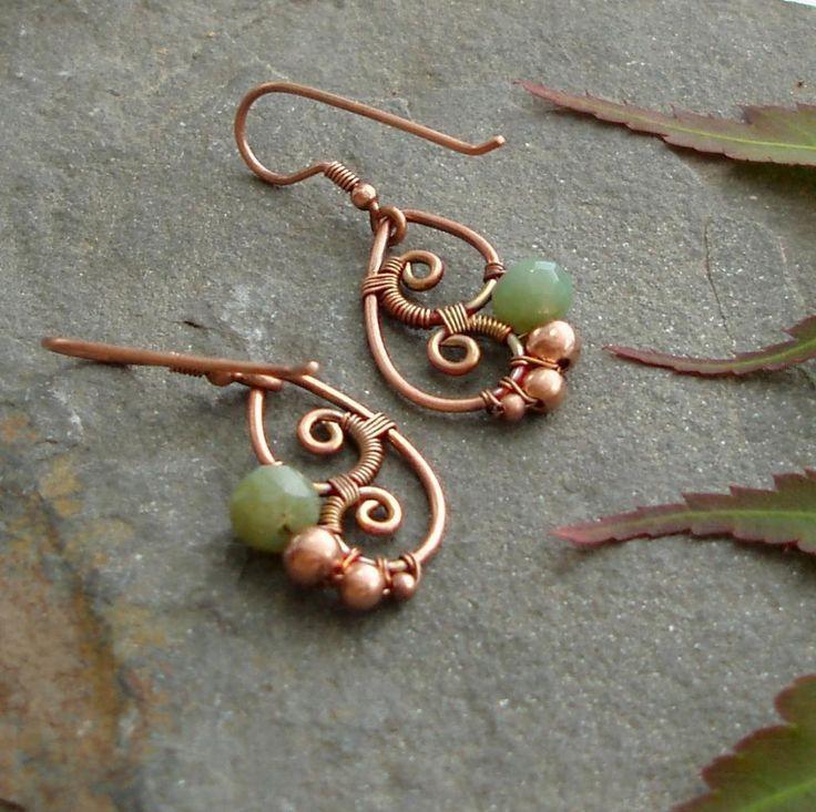 Copper wire earrings. Idea photo only.