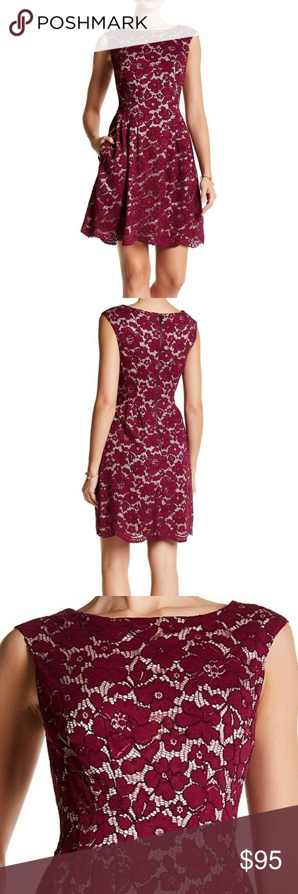 """Vince Camuto Fit and Flare Dress A pretty lace overlay defines a fun fit-and-flare dress, perfect for dancing the night away. - Boat neck - Back zip closure - Cap sleeves - Lined - Approx. 36"""" length - Imported Fiber Content: 37% cotton, 34% nylon, 29% viscose Vince Camuto Dresses Midi"""