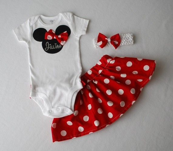 Minnie Mouse Baby Girl Skirt and Onesie Set included Headband with Matching Bow