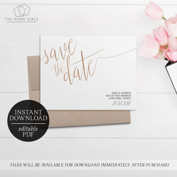 Save The Date Rose Gold Foil Printable  Editable Template