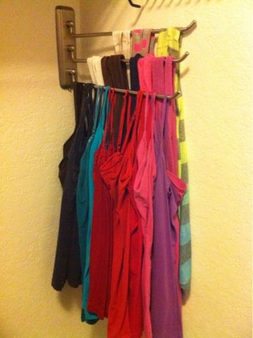 Tank top organization - ooh! instead of wasting hanger space!