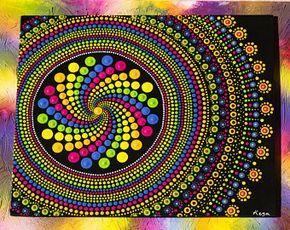 Rainbow Spin Mandala Original Dotart Painting with Acrylic paints on Canvas board painting mandaladotart dotpainting