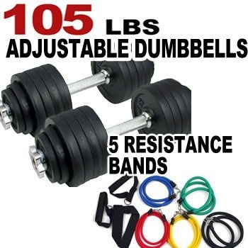 One Pair of Adjustable Dumbbells Kits - 105 Lbs (52.5lbs X 2pc) + Free 5 Resistance Bands by King, http://www.amazon.com/dp/B007MJF94Y/ref=cm_sw_r_pi_dp_MMhQrb0PB2VXM