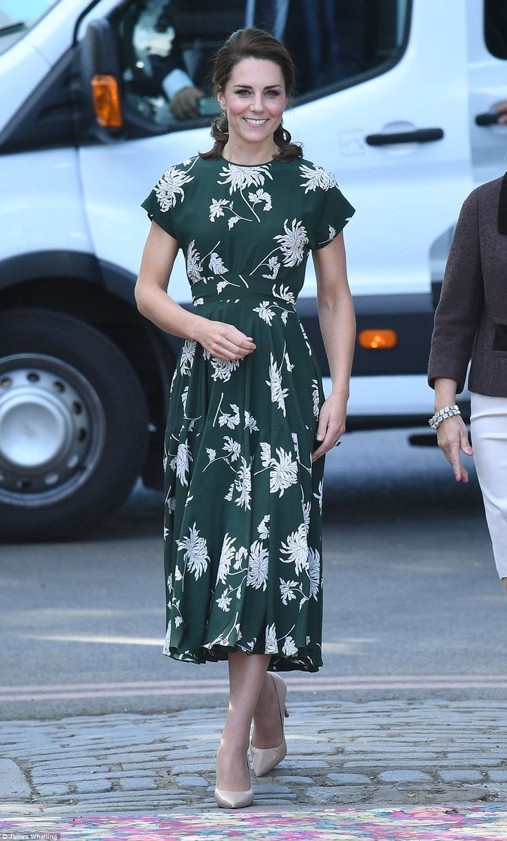 The Duchess of Cambridge arrived at the Chelsea Flower Show in glorious sunshine. She plumped for a £1,500 green and white printed dress by Rochas teamed with her trusty nude heels
