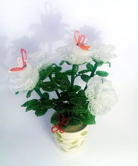 Beaded roses white roses in pot summer flowers by GiftsByTatjana