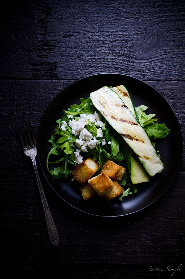 This Grilled Zucchini Salad with Feta and Sweet Croutons