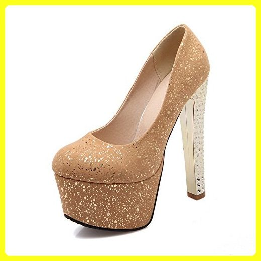 9970b96561ad10 BalaMasa Womens Sequins Platform Height Yellow Embossed Leather Pumps-Shoes  - 10 B(M