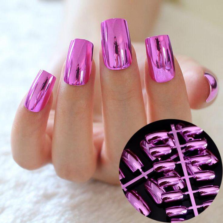24 pcs Metal Hot Pink Rose False Nails
