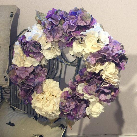 Easter Flowers Wedding: Lilac Hydrangea Wreath- Easter Flowers. Wedding Flowers