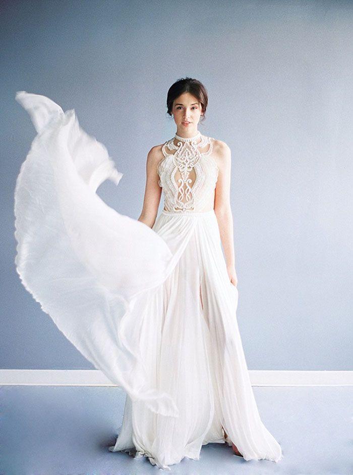 Illusion Lace and Chiffon Alon Livne White Wedding Dress | Taylor Lord Photography | http://heyweddinglady.com/luminous-illusion-bridal-style-blue-white/