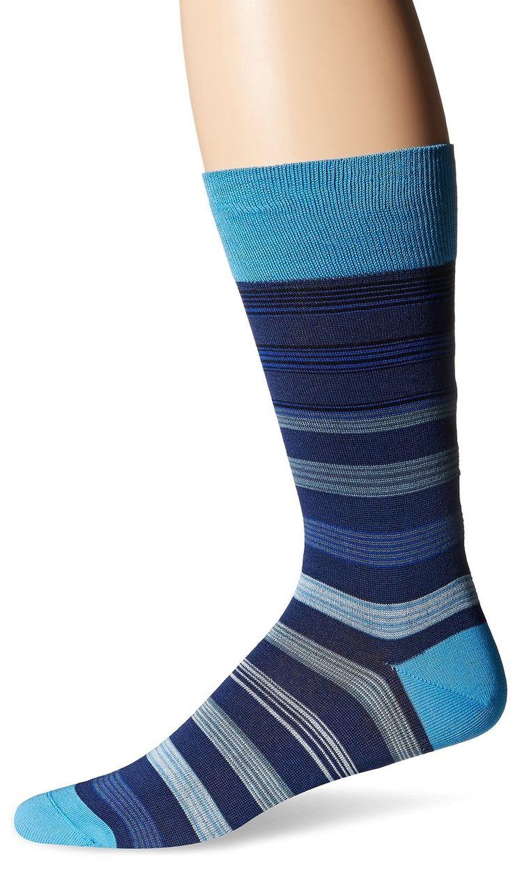 Bugatchi Men's Stripe Fancy Sock in teal