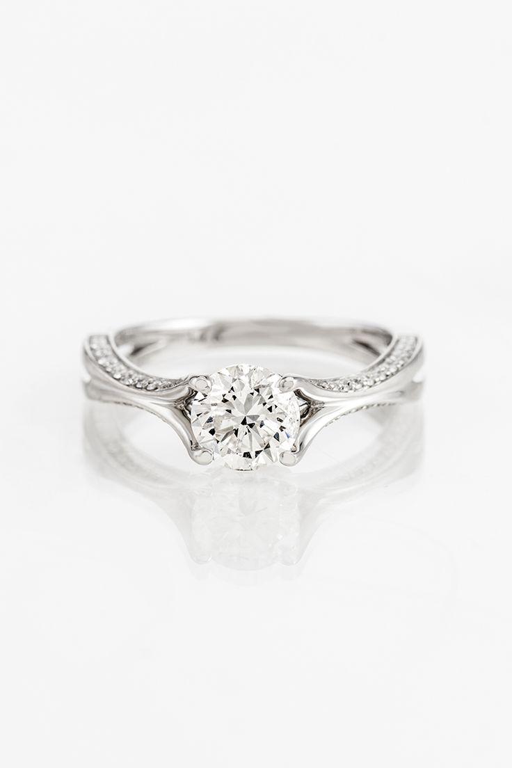 Round Diamond Split Shank Engagement Ring In 14k White Gold