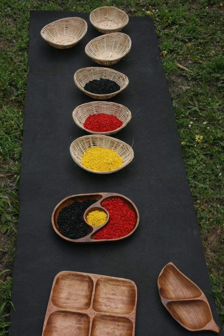 Aboriginal flag colours provocation. Stones are from the pet shop for fish tanks.