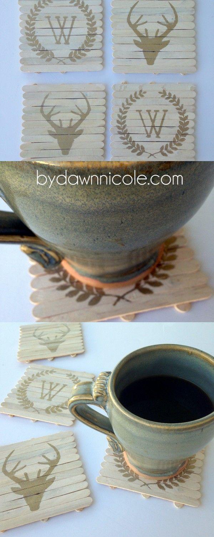 Silhouette Saturday: DIY Rustic Wood Craft Stick Coasters