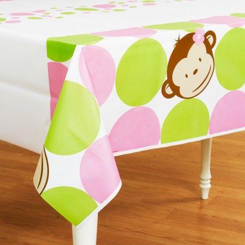 Pink Mod Monkey Plastic Tablecover
