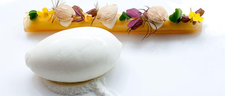 Yoghurt, wood ruff, almonds and praliné @Restaurant CLOU